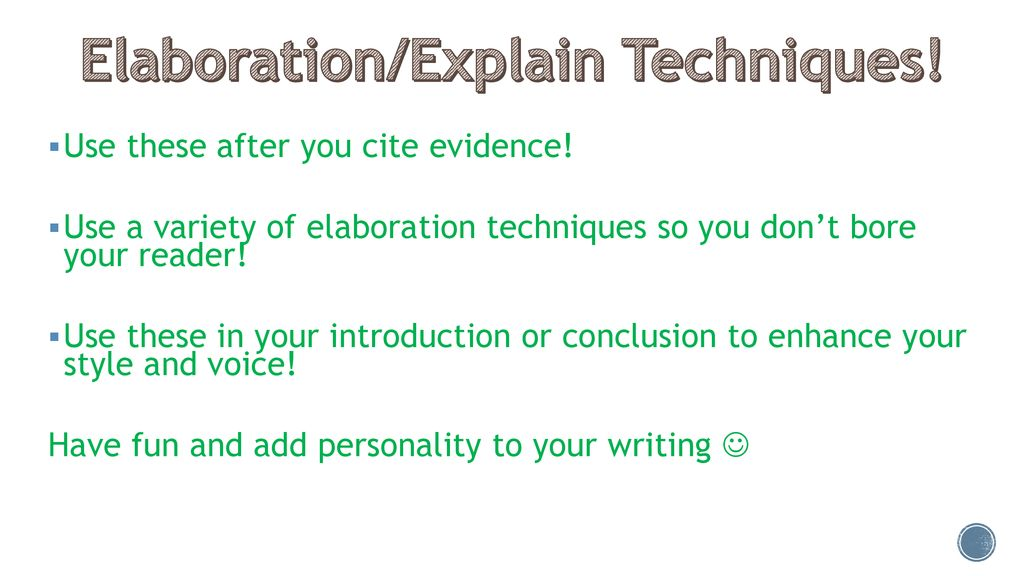 elaboration techniques in writing