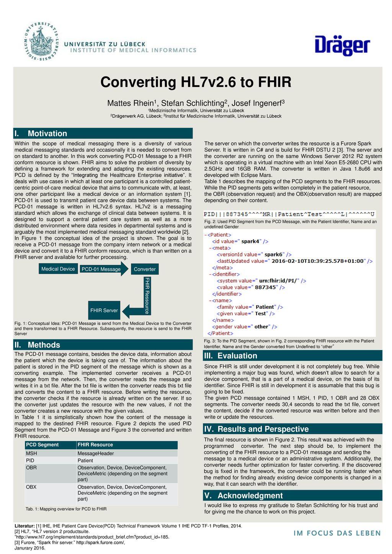 Converting HL7v2 6 to FHIR Mattes Rhein1, Stefan