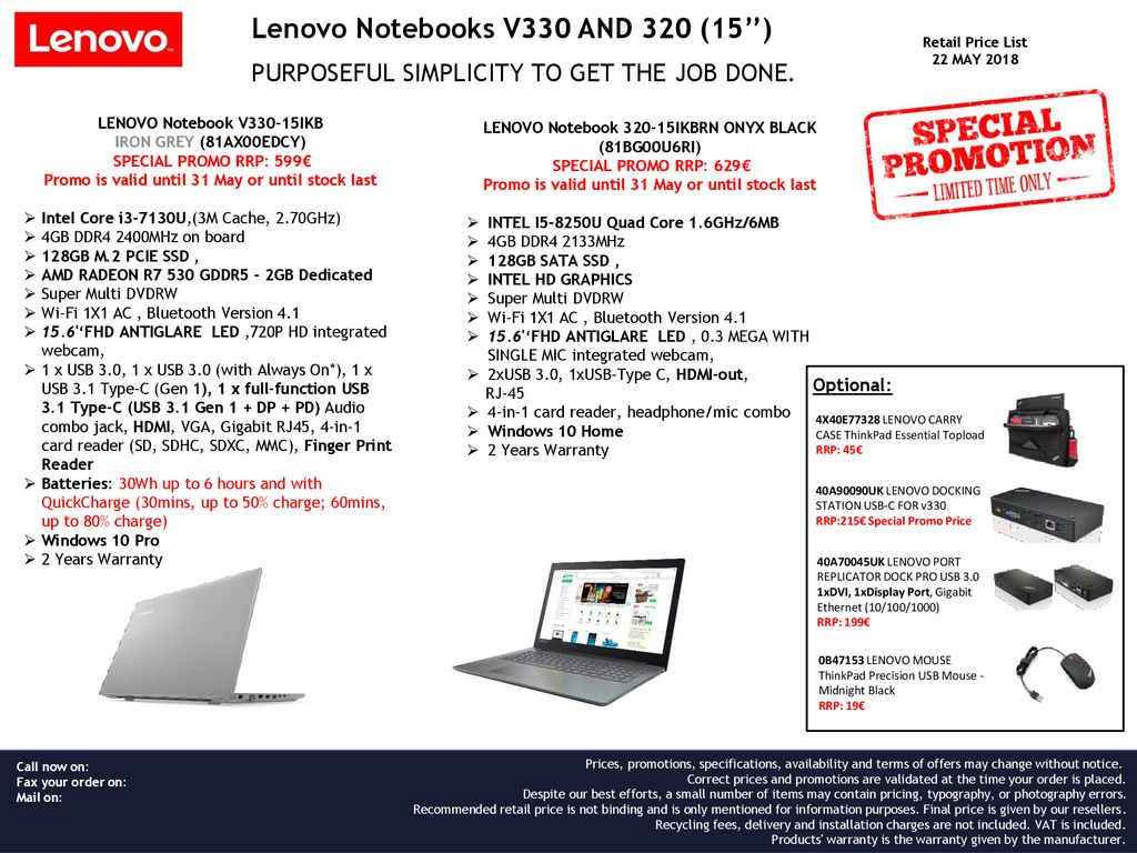 Lenovo Notebooks V330 AND 320 (15'') - ppt download