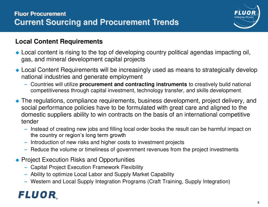 Fluor Procurement Overview China Sourcing Petroleum Equipment Summit