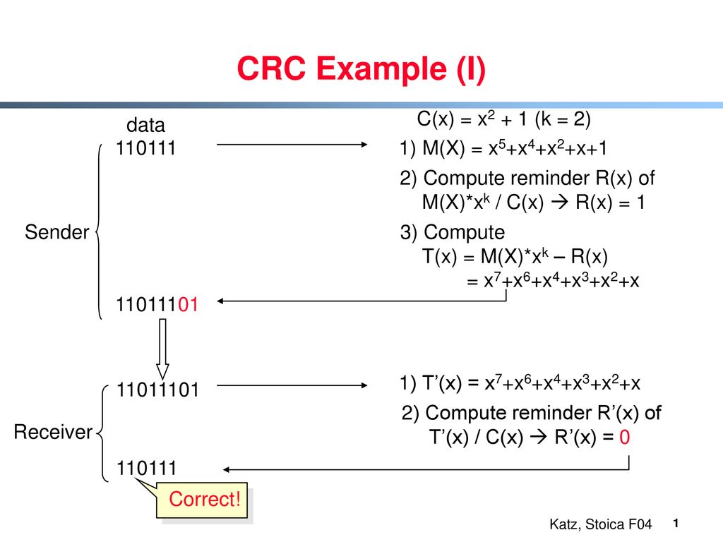 CRC Example (I) C(x) = x2 + 1 (k = 2) data - ppt download