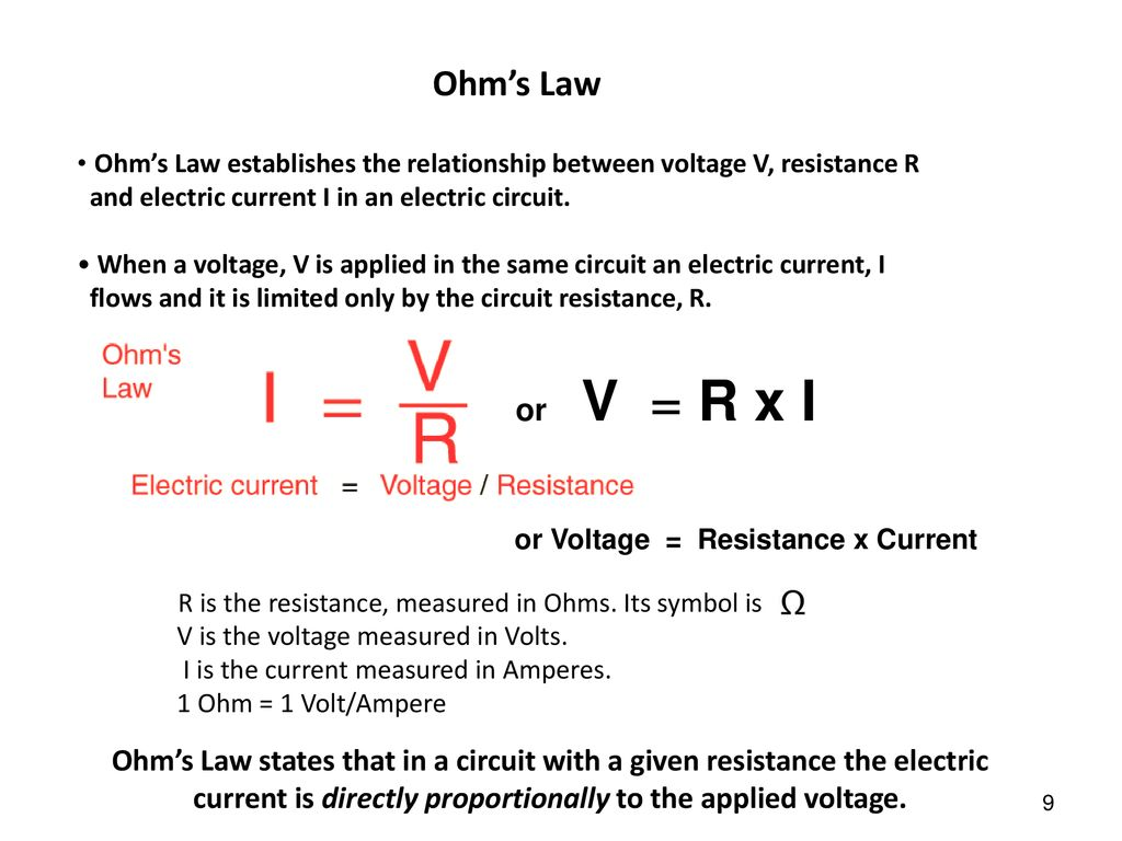 Electric Current Resistance And Ohms Law Ppt Download The Can Be Used To Work Out Voltages Currents 9 Establishes Relationship Between Voltage V