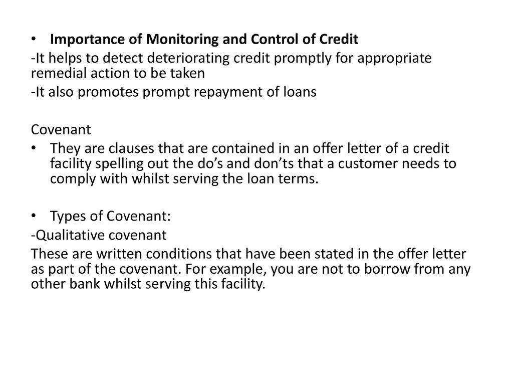 importance of monitoring and control of credit