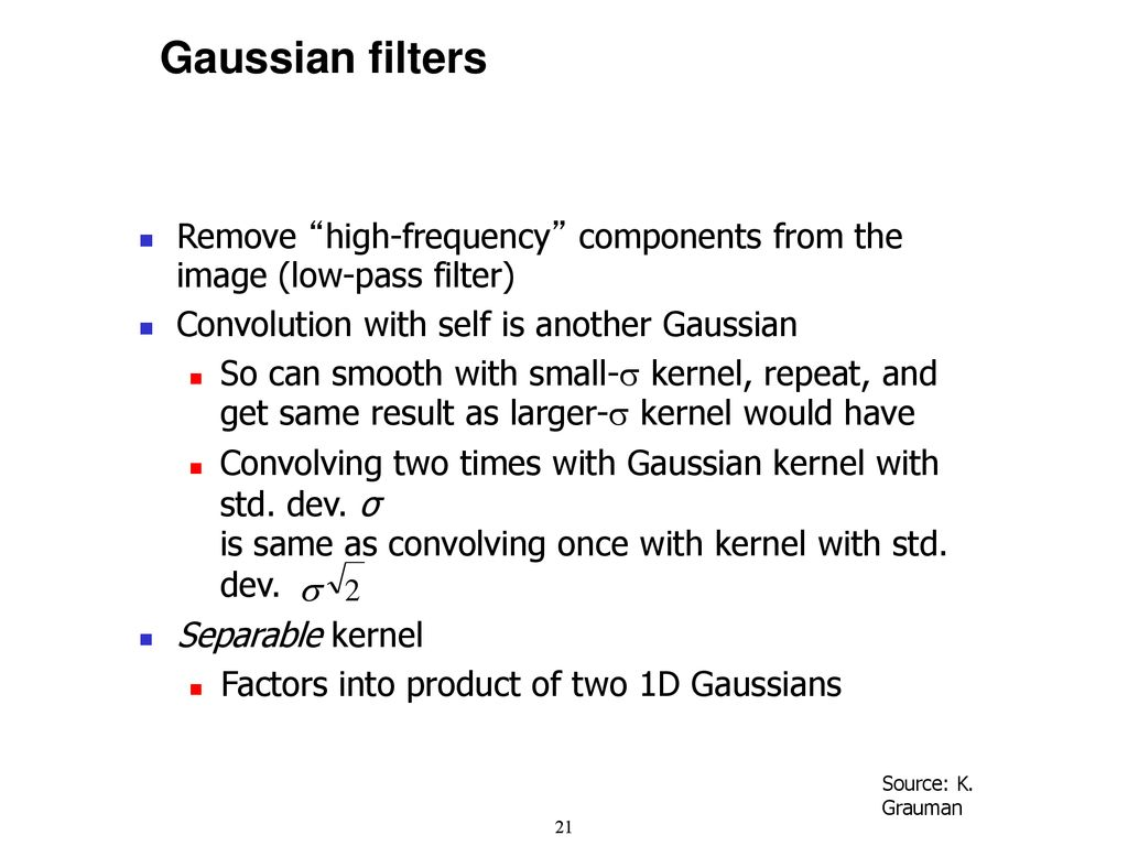 Madison : Gaussian low pass filter kernel size
