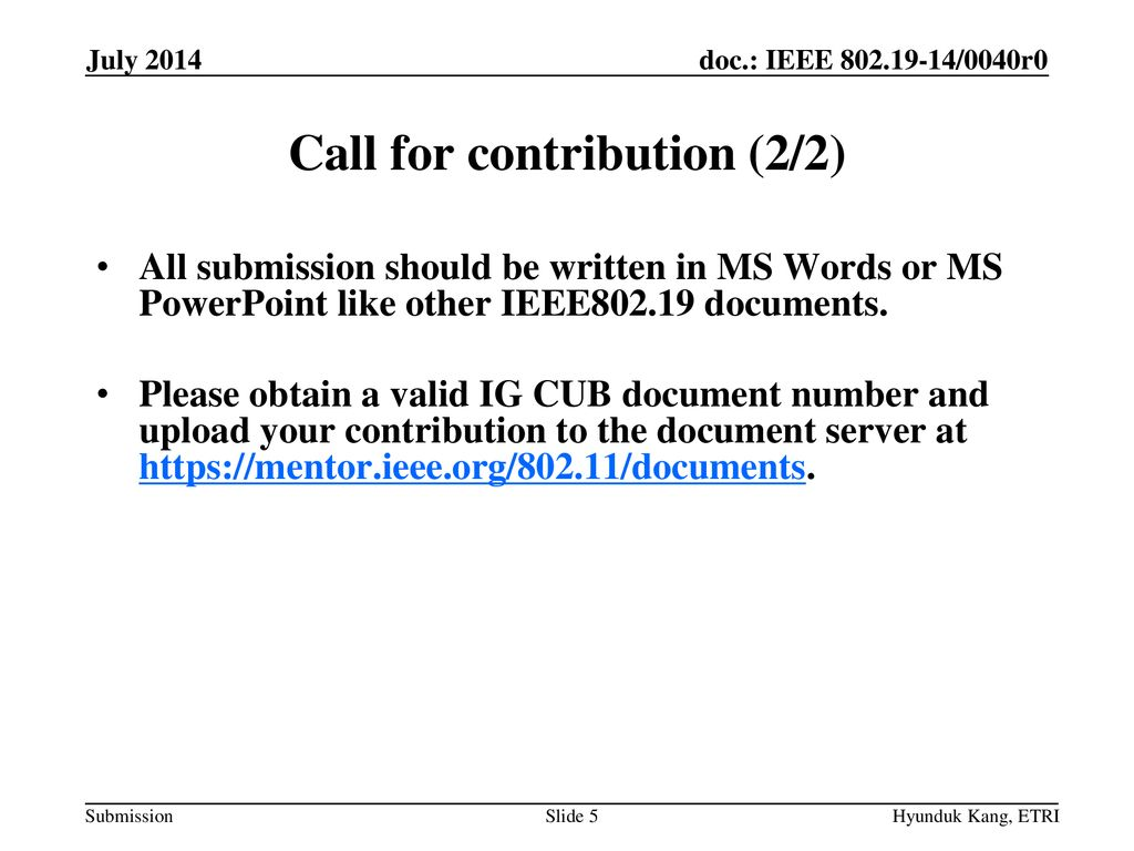 Call for contribution (2/2)