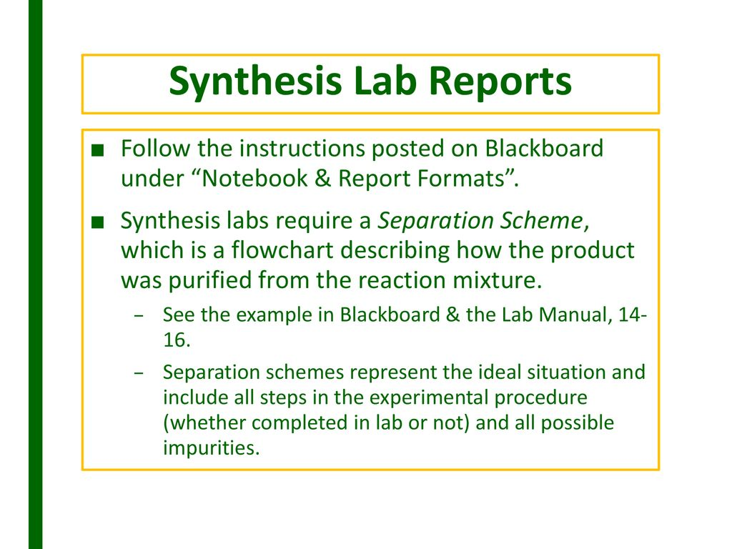 synthesis lab report