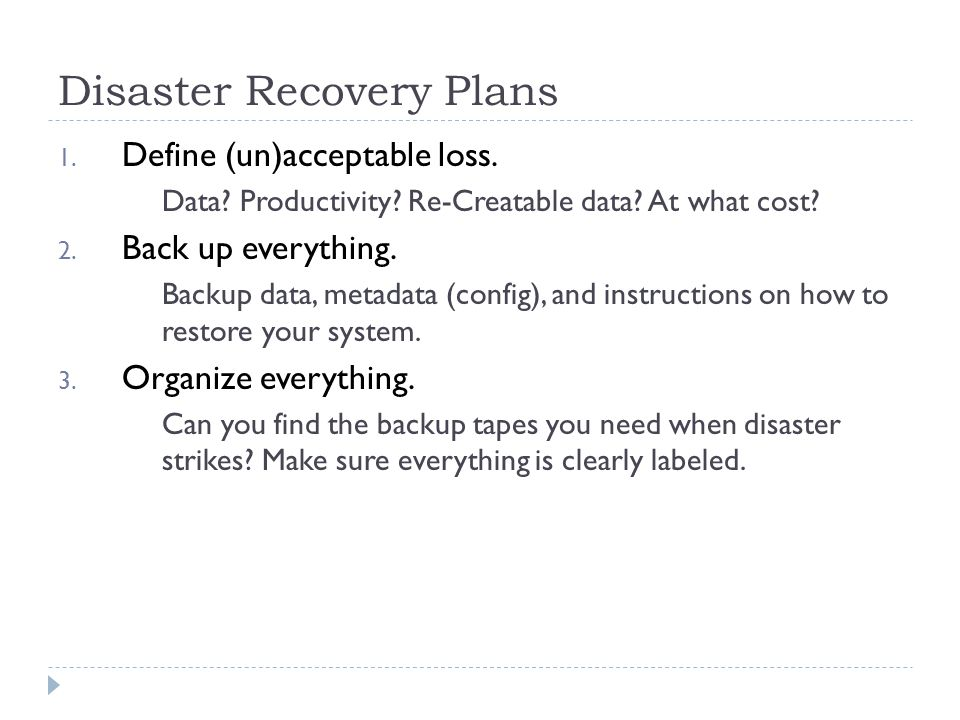 data disaster recovery plan pdf