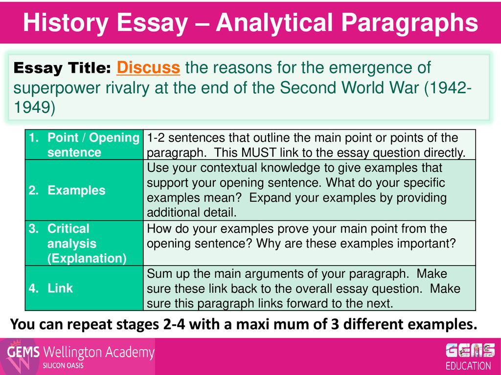 History Essay – Analytical Paragraphs - ppt download