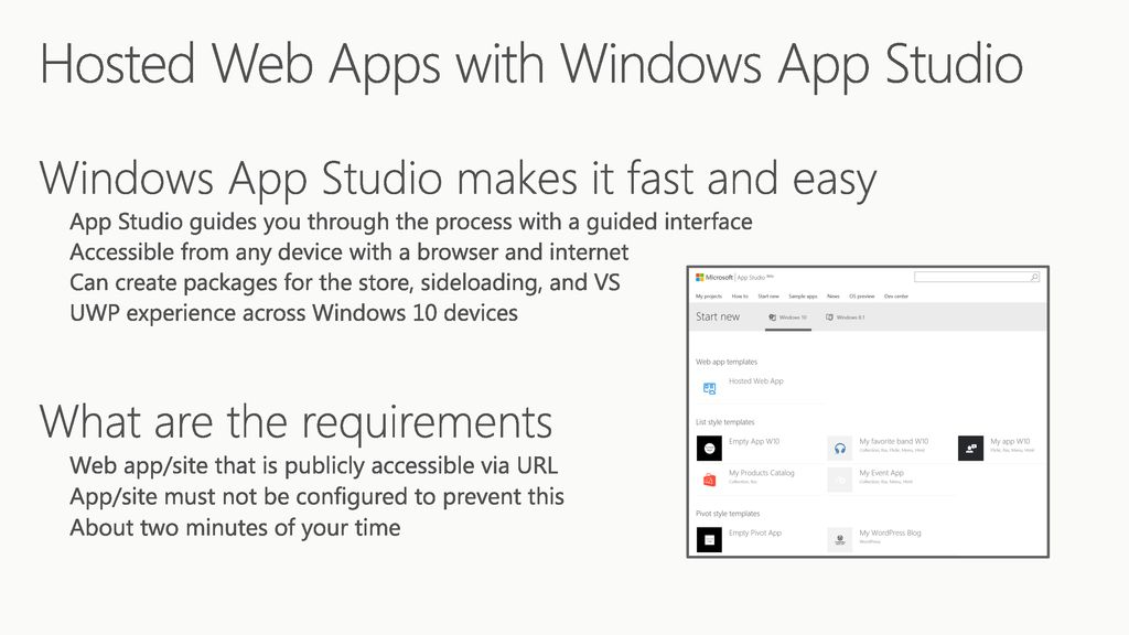 Hosted Web Apps with Windows App Studio - ppt download