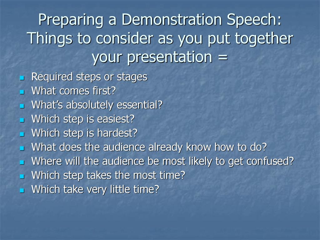good things to do for a demonstration speech