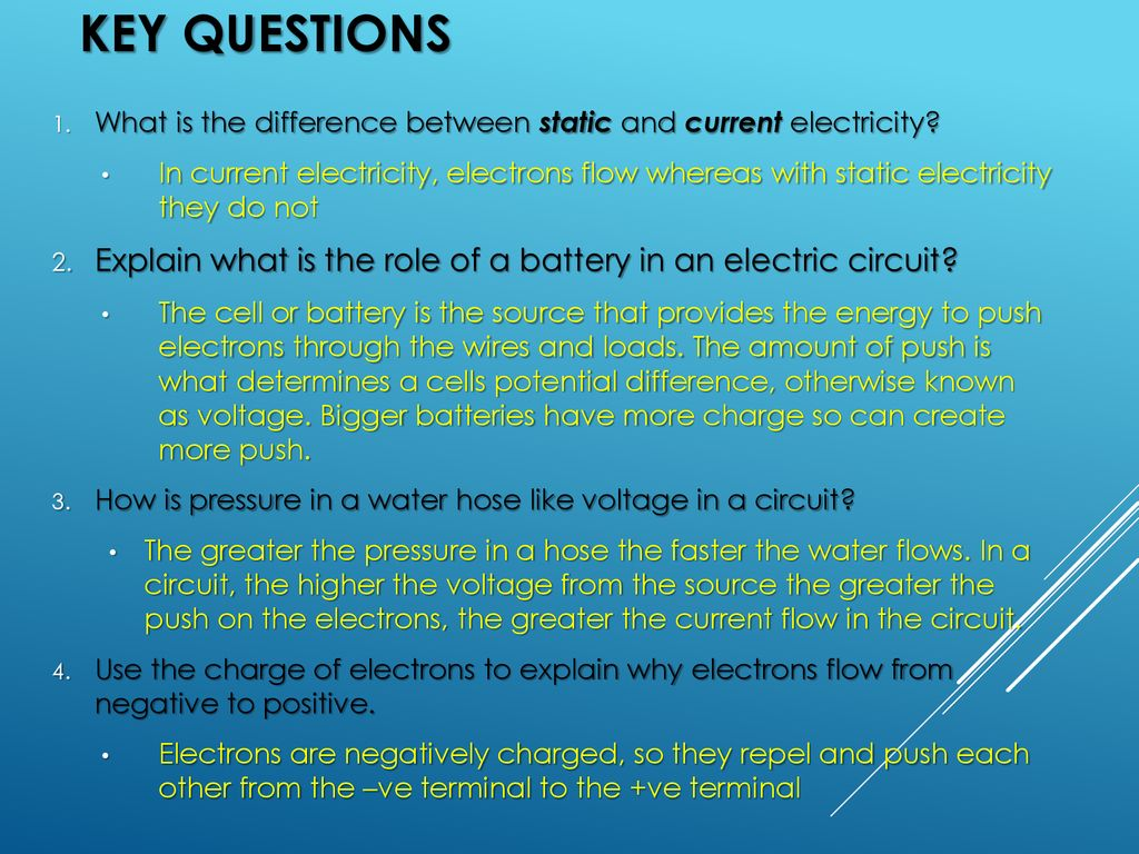Electricity Current Voltage Resistance And Circuits Ppt Download Difference Between Wiring Batteries In Series Parallel Key Questions What Is The Static