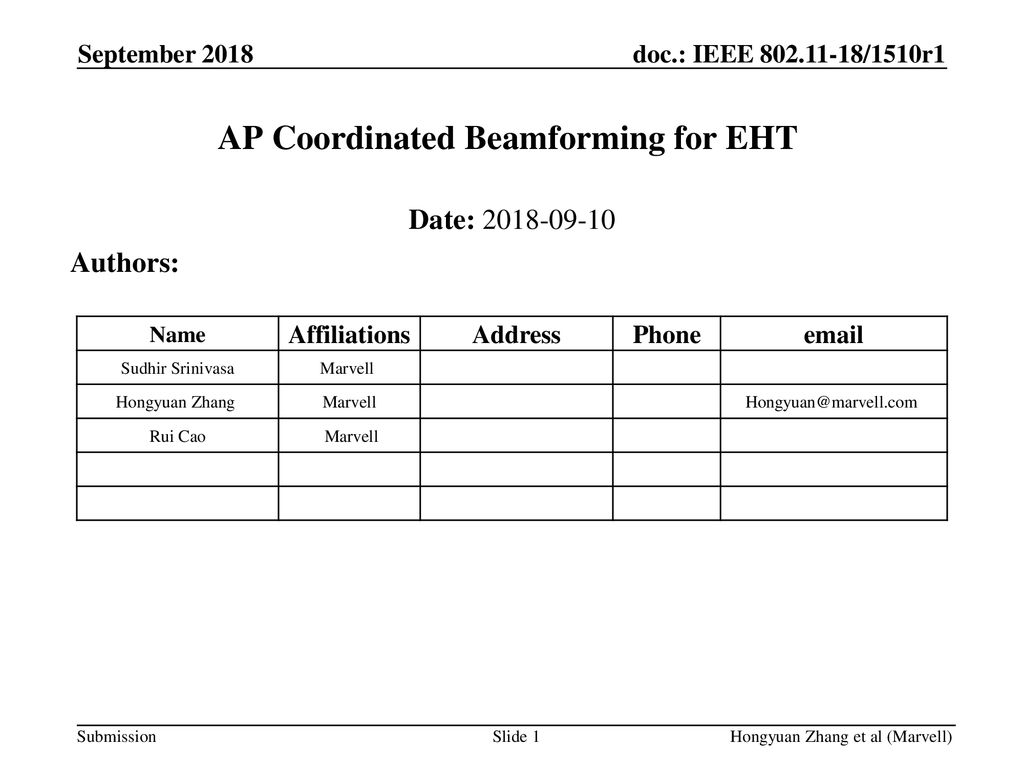 AP Coordinated Beamforming for EHT - ppt download