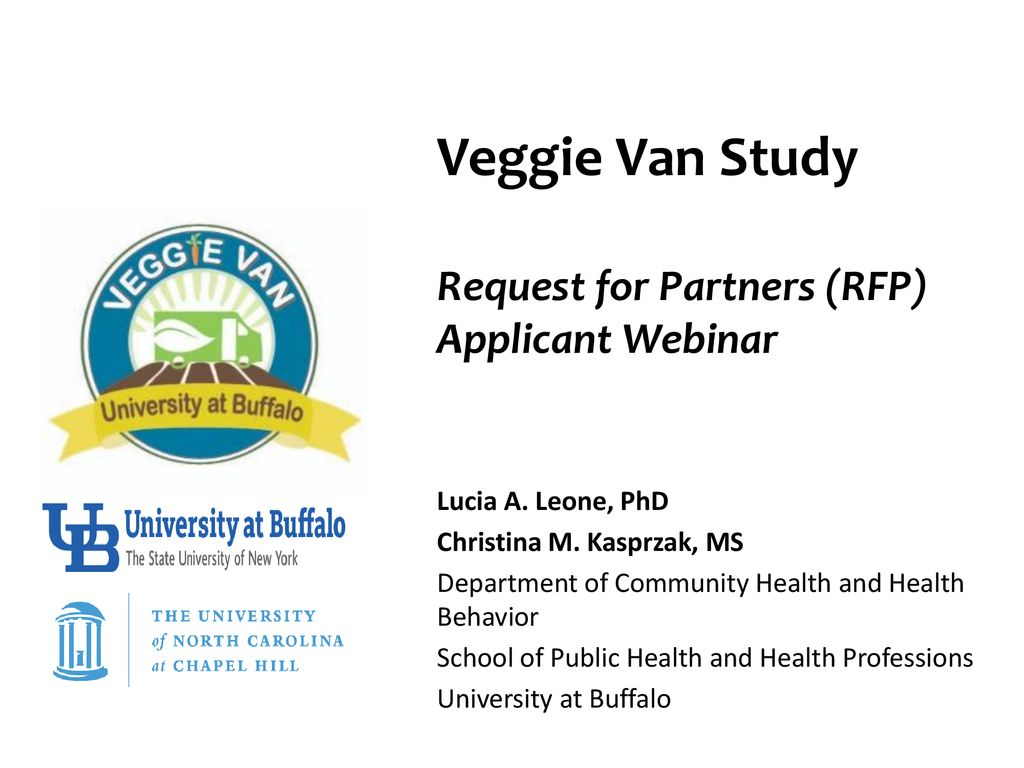 Veggie Van Study Request for Partners (RFP) Applicant Webinar - ppt