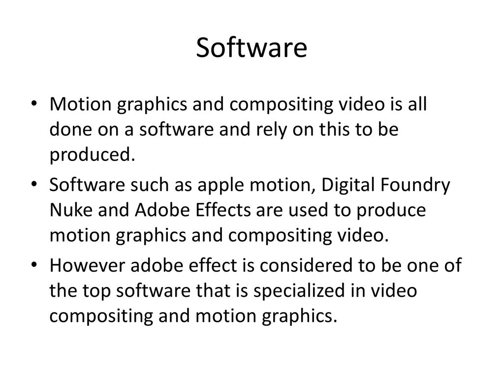 MOTION GRAPHICS AND COMPOSITING VIDEO - ppt download