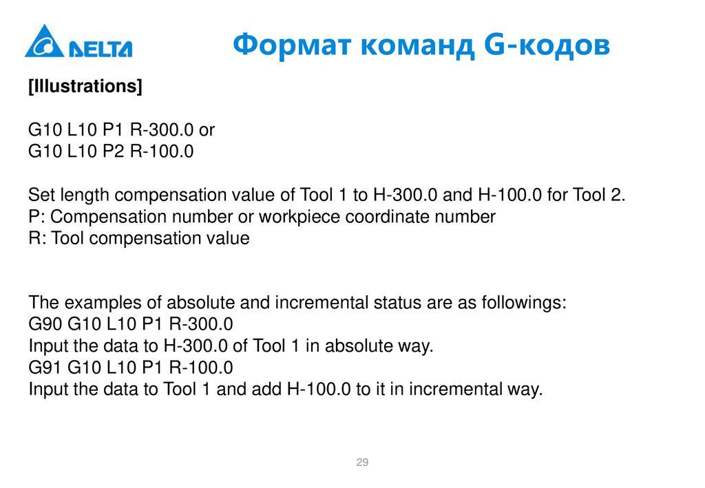 ЧПУ Delta Electronics G-коды  Примеры - ppt download