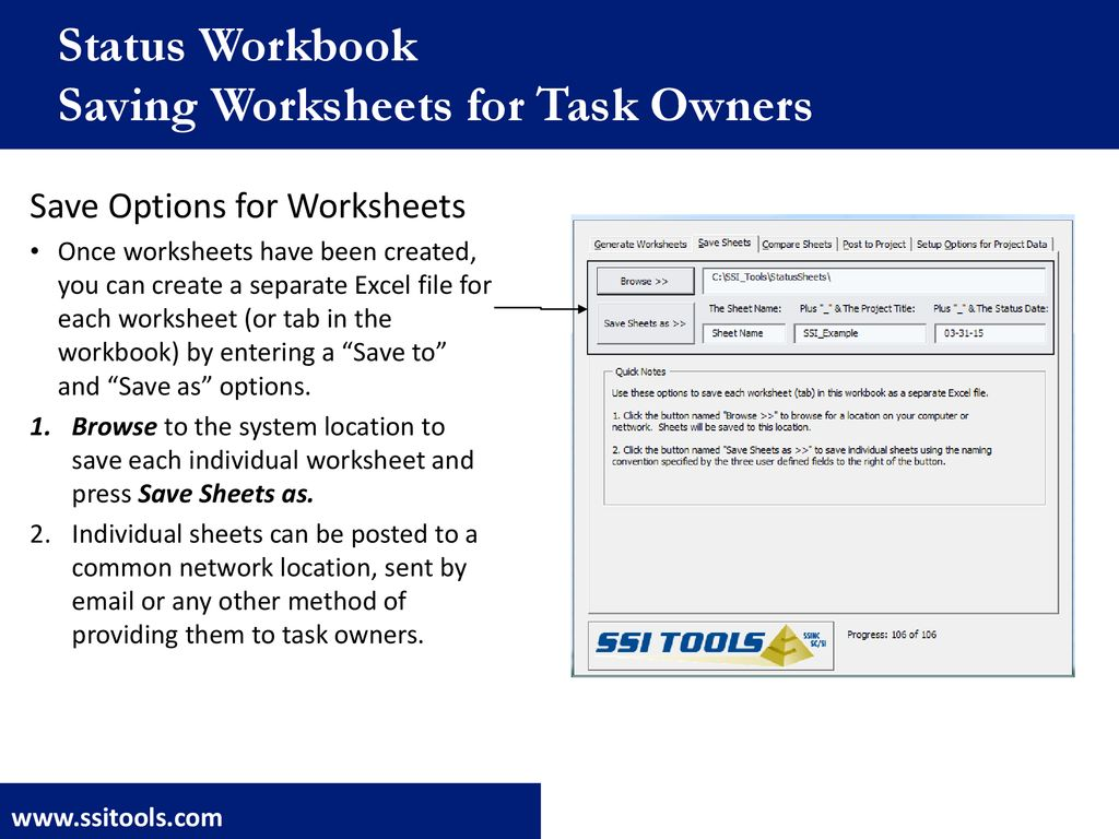 SSI Toolbox Status Workbook Overview - ppt download