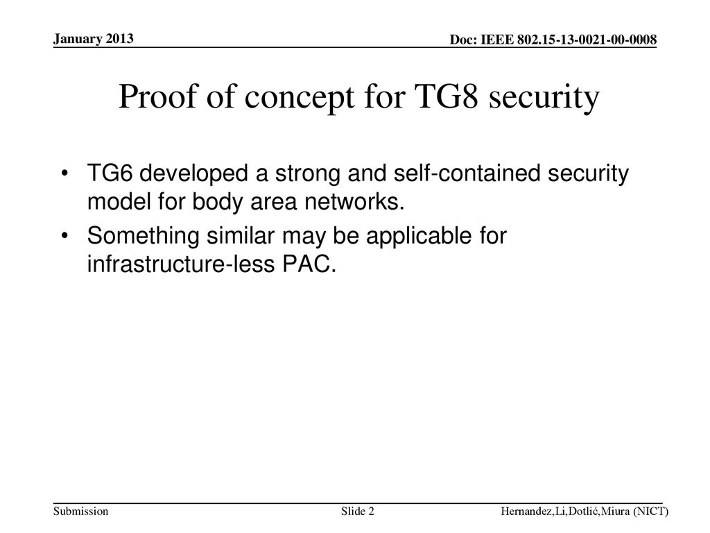 Proof of concept for TG8 security