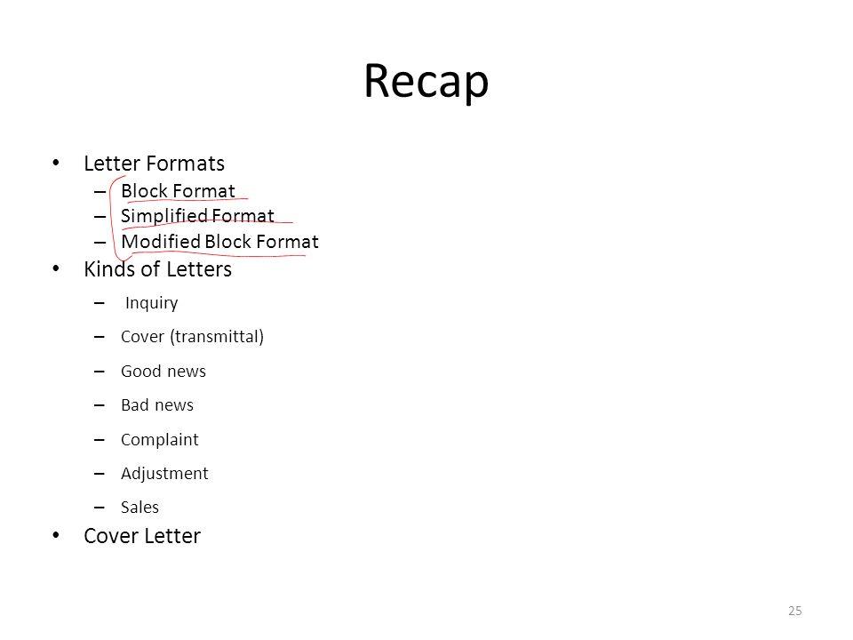 recap letter formats kinds of letters cover letter block format