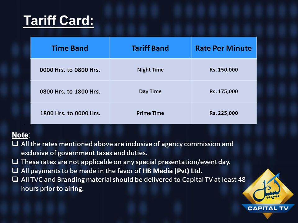 Tariff Card: Time Band Tariff Band Rate Per Minute . Note: