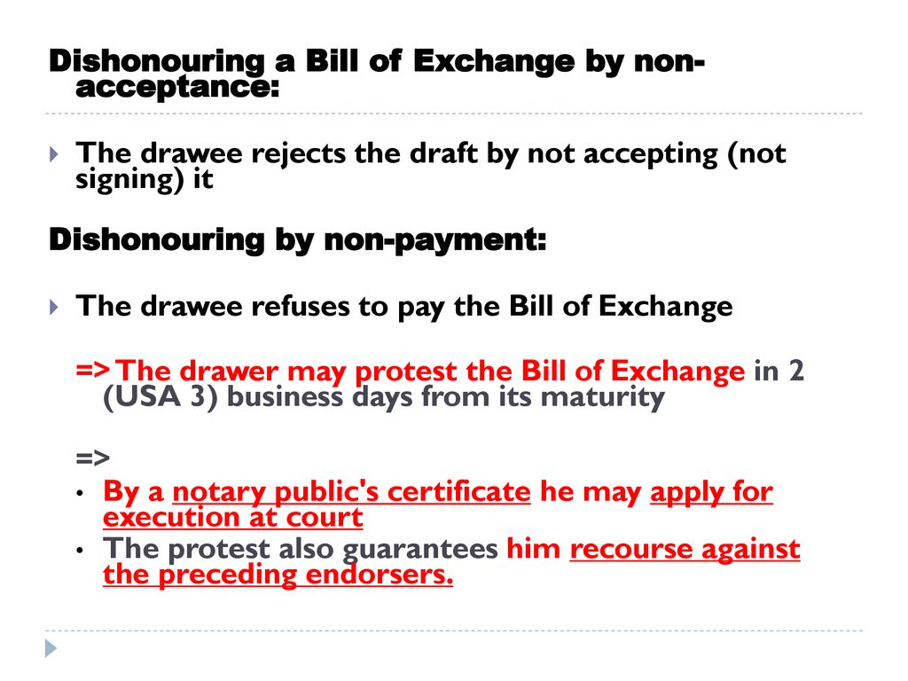 Dishonouring A Bill Of Exchange By Non Acceptance