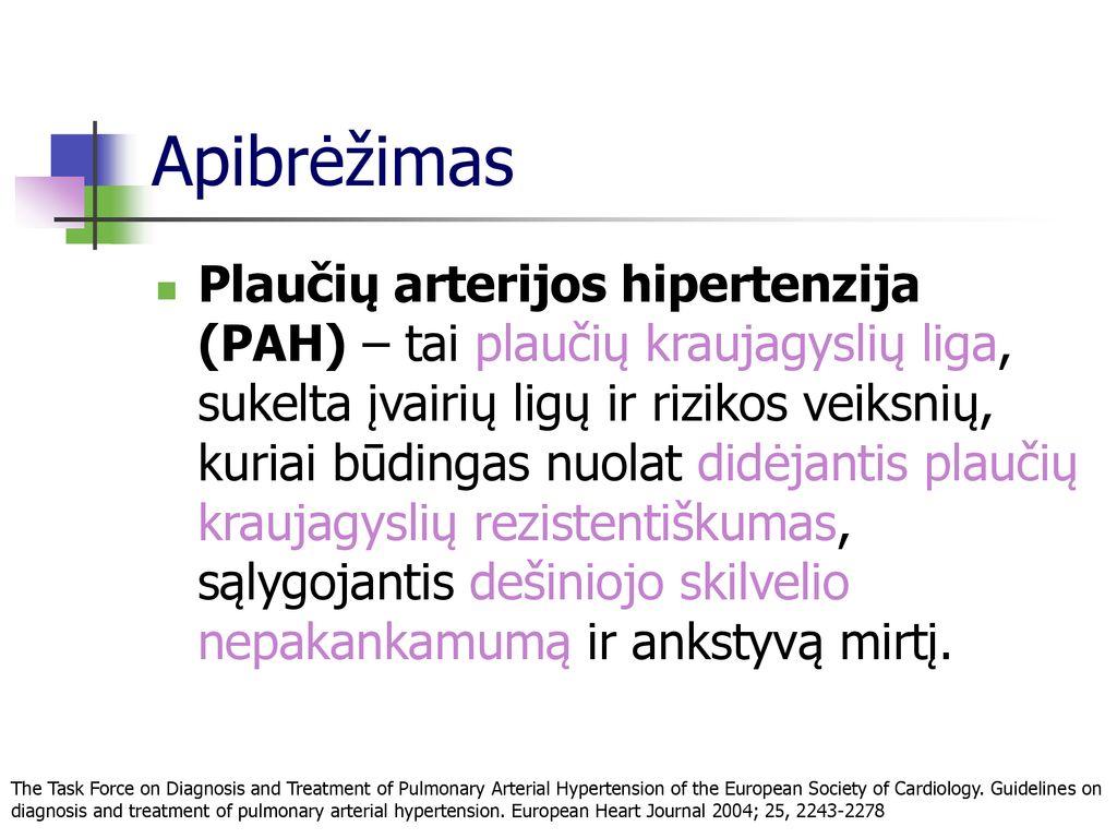 plaučių hipertenzija ar hipertenzija