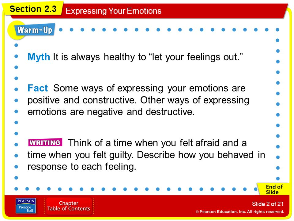 Myth It is always healthy to let your feelings out.