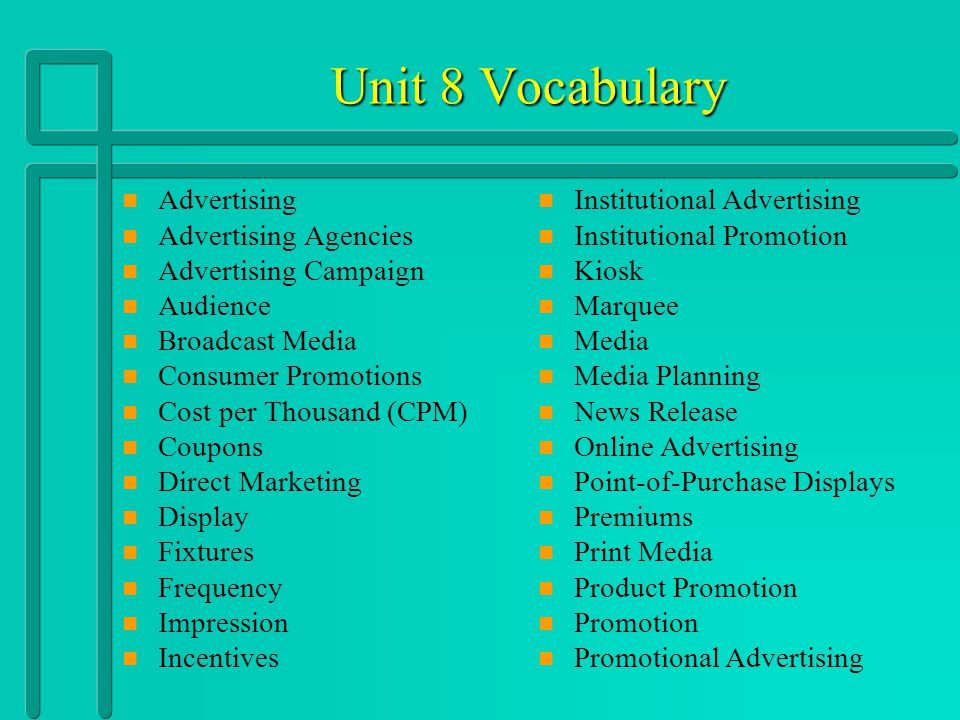 Unit 8 Vocabulary Advertising Advertising Agencies