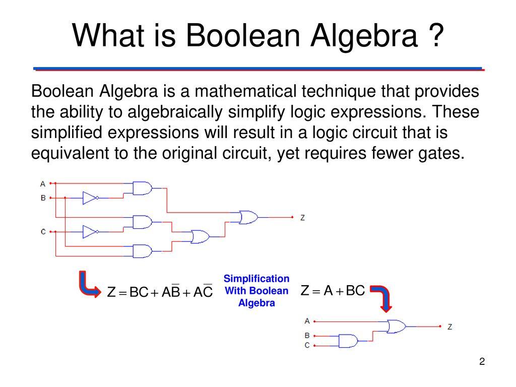 Circuit Simplification: Boolean Algebra - ppt download