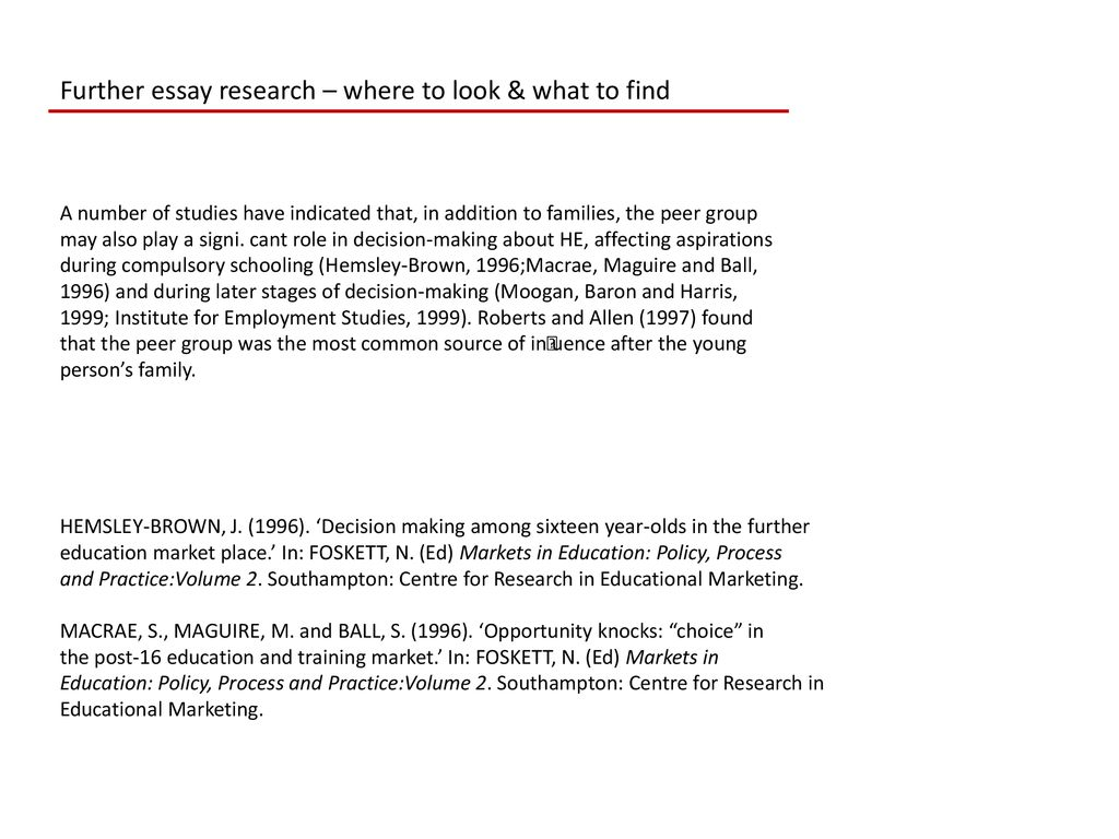 Topics For High School Essays Further Essay Research  Where To Look  What To Find Health Education Essay also A Modest Proposal Ideas For Essays Essay Research  Where To Look  What To Find  Ppt Download Learn English Essay Writing