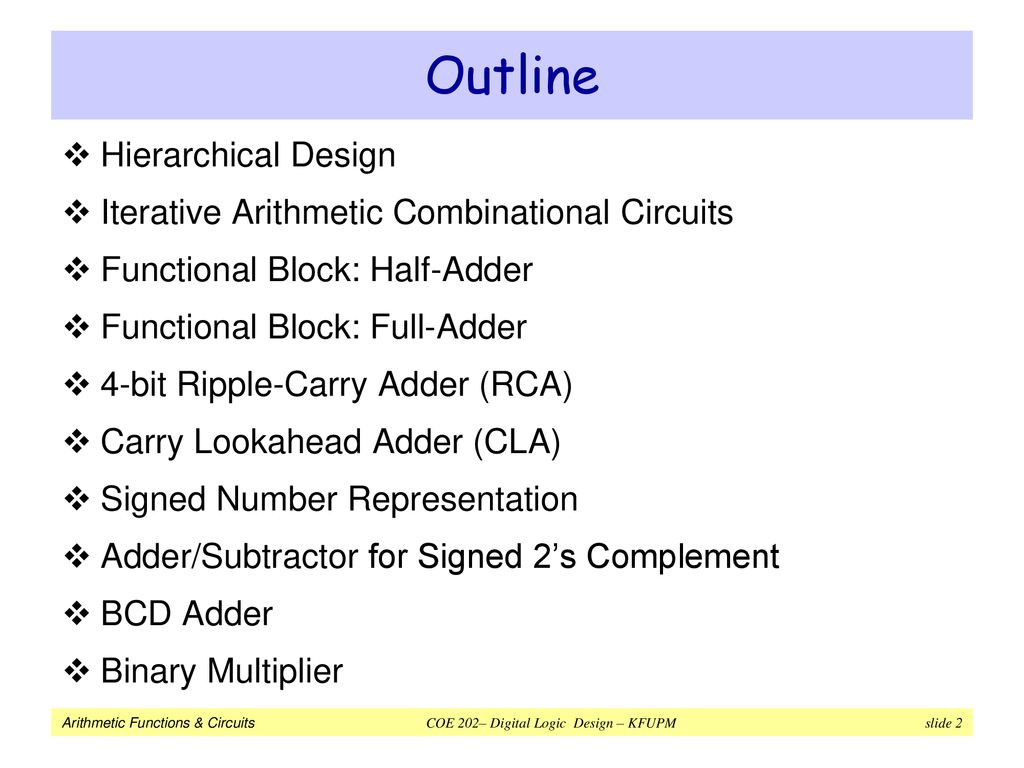 Arithmetic Functions Circuits Ppt Download Electric Adder Subtractor Truth Table 4 Bit Binary Part 1 2 Outline Hierarchical Design