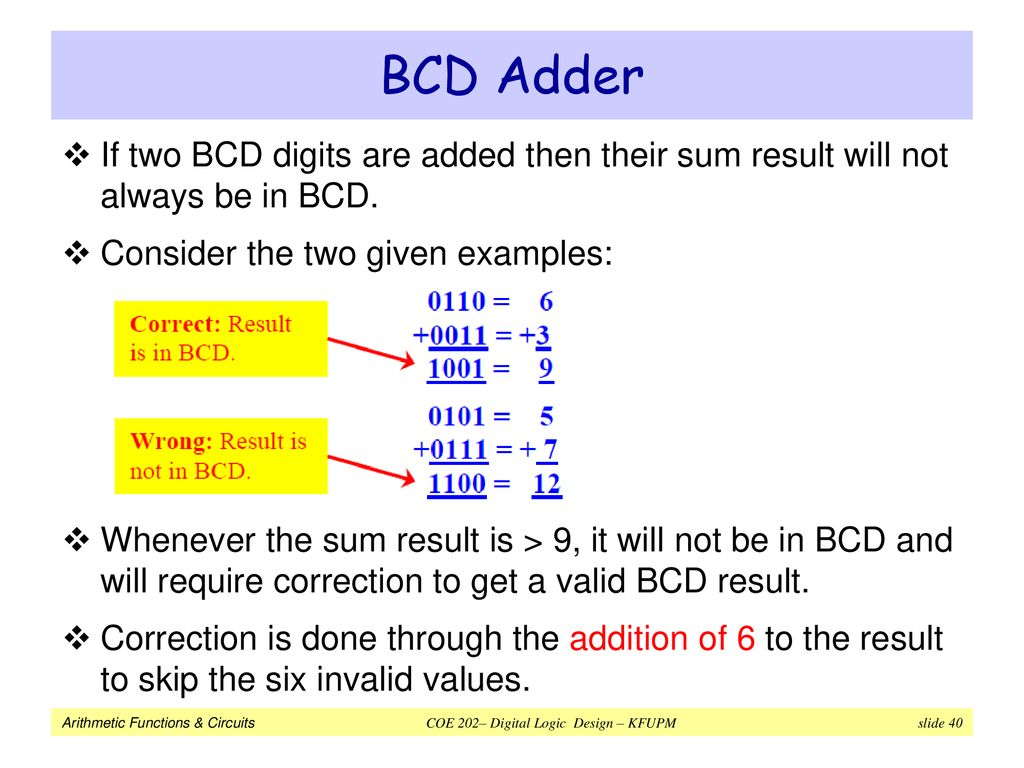 Arithmetic Functions Circuits Ppt Download The Circuit Of Bcd Adder Will Be As Shown In Figure 40