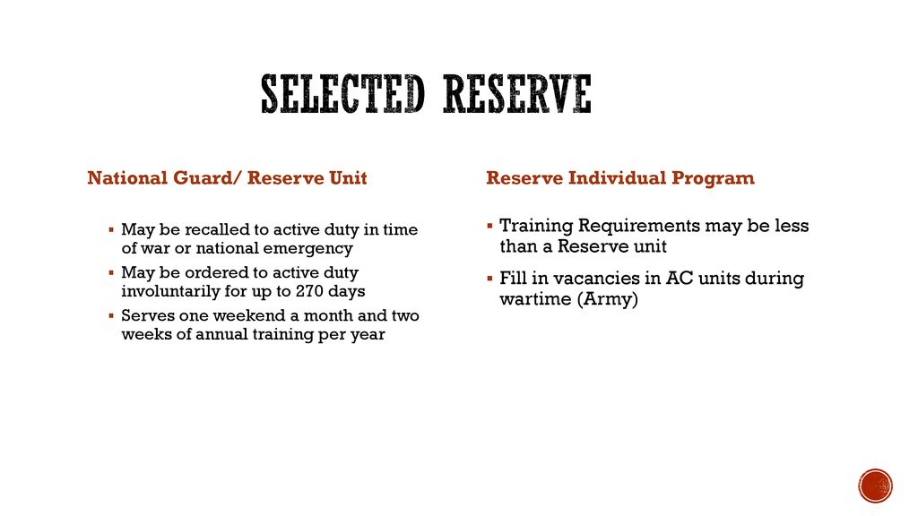 Reserve affiliation and reserve component counselors - ppt