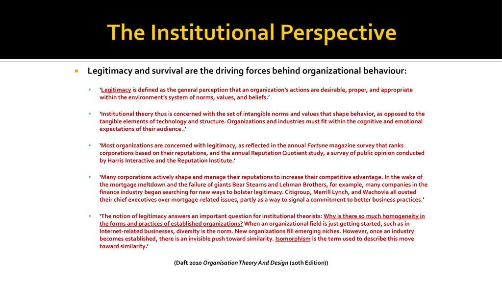 Week 5 Understanding Organisations The Institutional Perspective Ppt Download