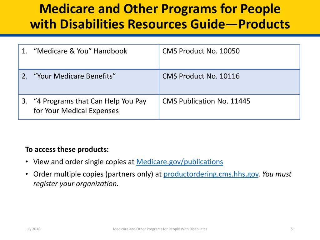 Medicare and Other Programs for People with Disabilities