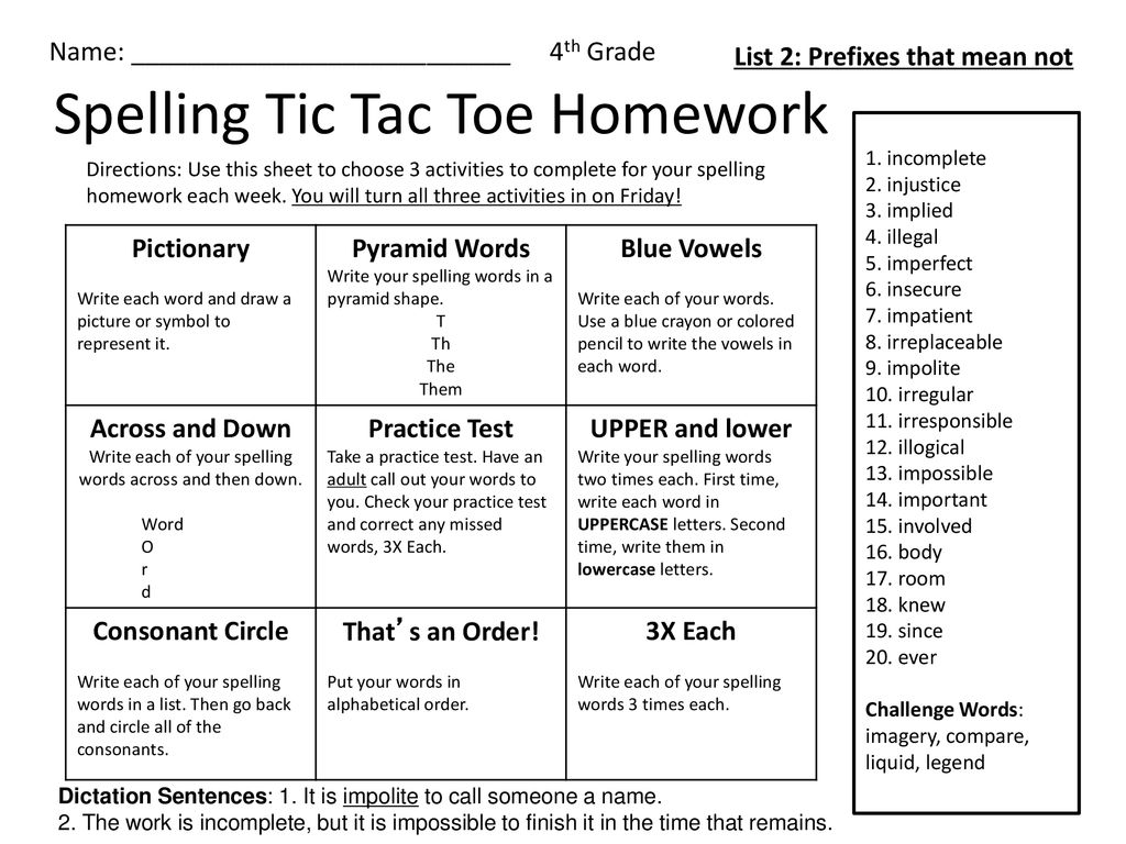 Spelling Tic Tac Toe Homework - ppt download