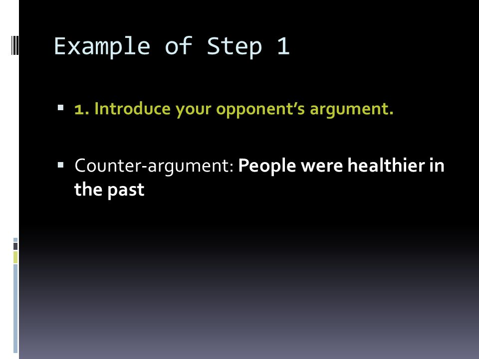 Example of Step 1 1. Introduce your opponent's argument.