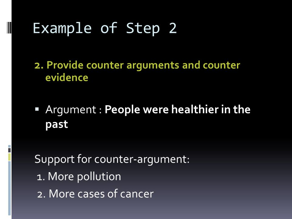Example of Step 2 2. Provide counter arguments and counter evidence