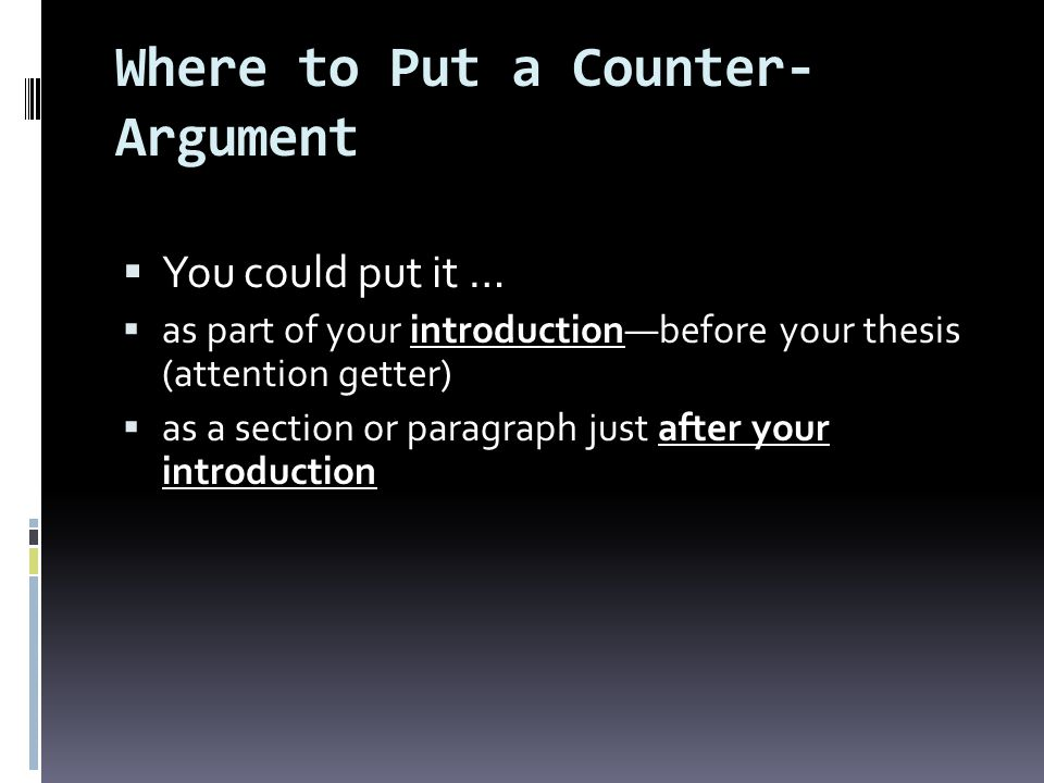 Where to Put a Counter-Argument