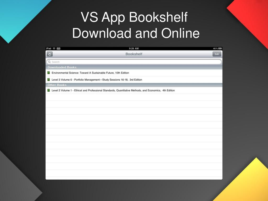 vitalsource bookshelf download ipad