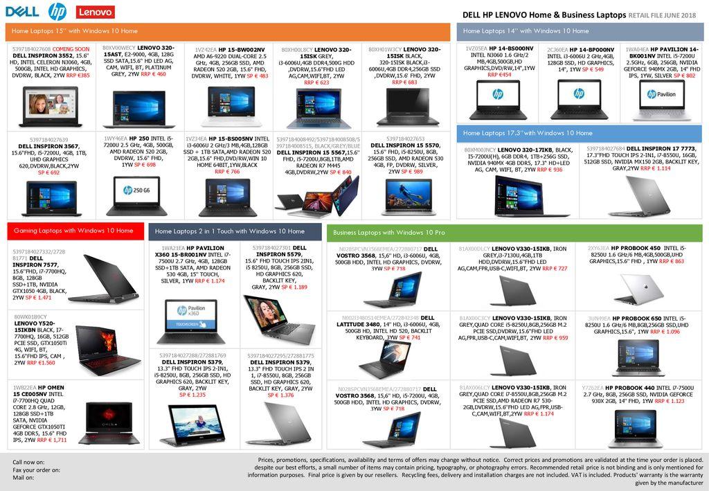 DELL HP LENOVO Home & Business Laptops RETAIL FILE JUNE ppt