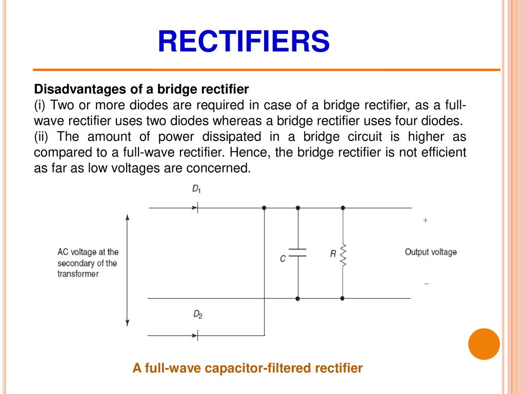 Diodes Their Applications Mr Zeeshan Ali Asst Professor Ppt Capacitor Filter Used In Full Wave Rectifier Circuit As Shown The 17 Rectifiers Disadvantages