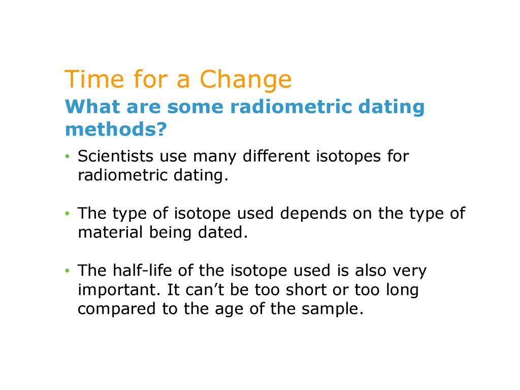 describe the radiometric dating methods