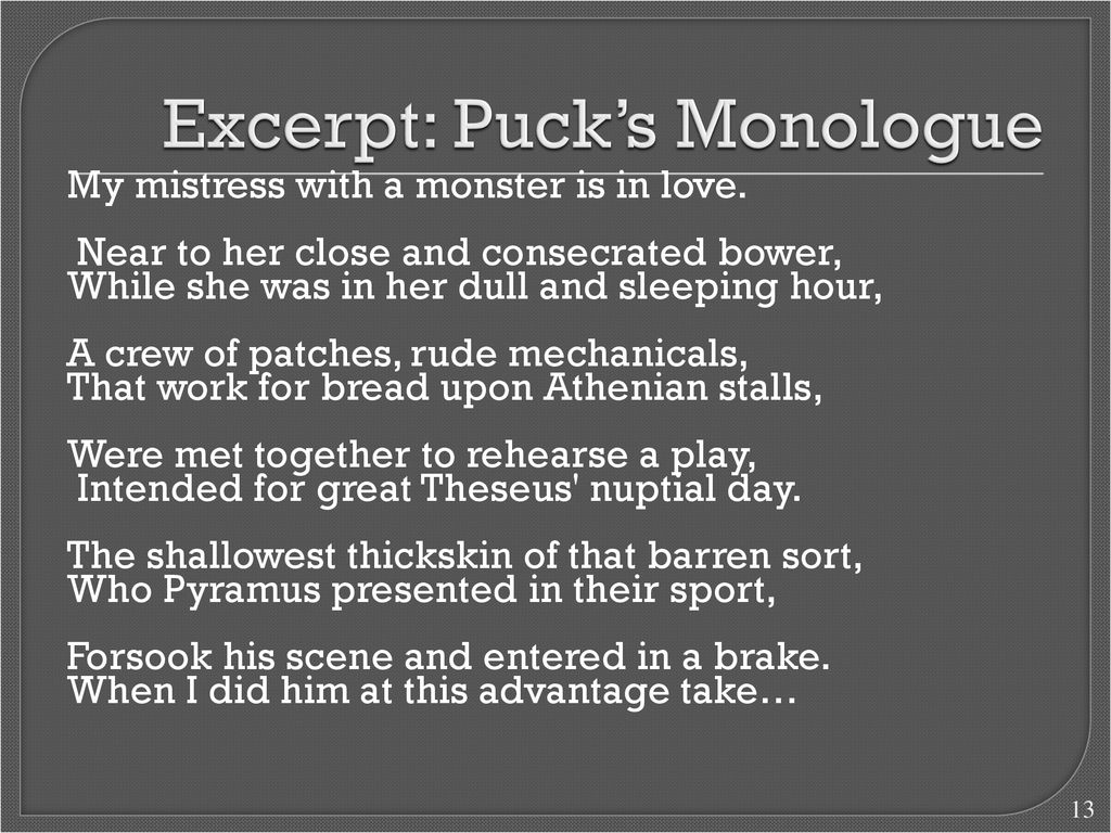 puck monologue
