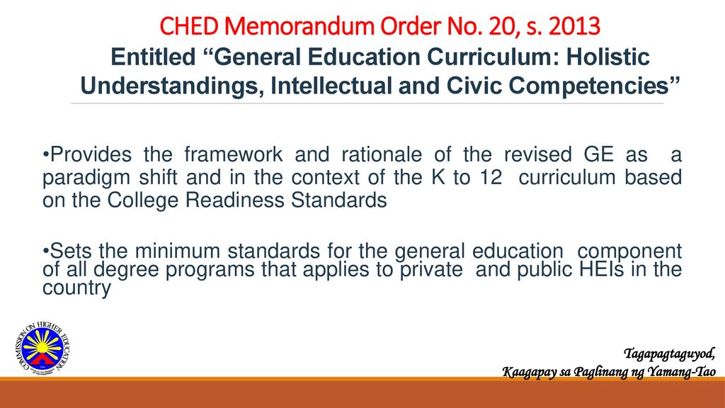 New General Education Curriculum (CMO 20, s  2013) - ppt