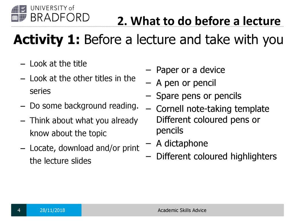 Academic Skills Advice Ppt Download