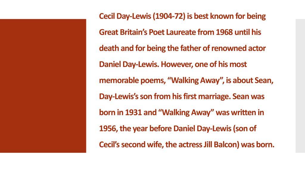 Walking Away By C  Day-Lewis  - ppt download