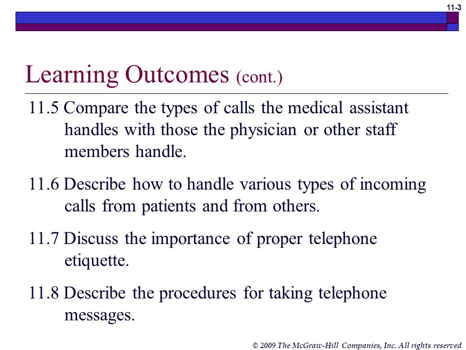 Telephone Techniques Chapter 11 Medical Assisting Ppt