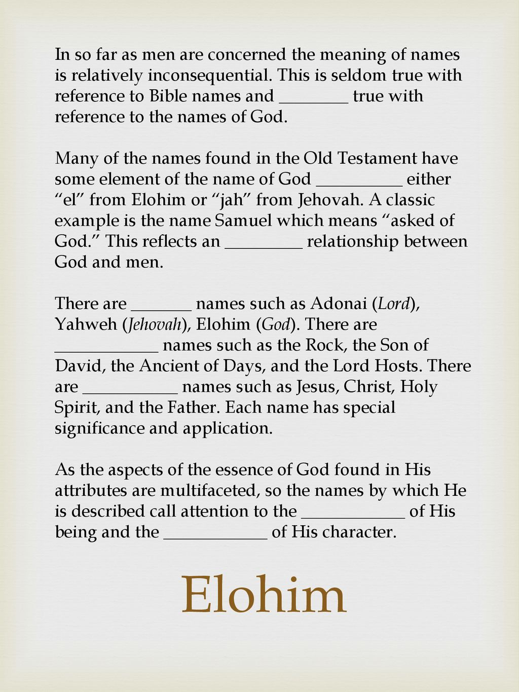Theology Proper The Names of God  - ppt download