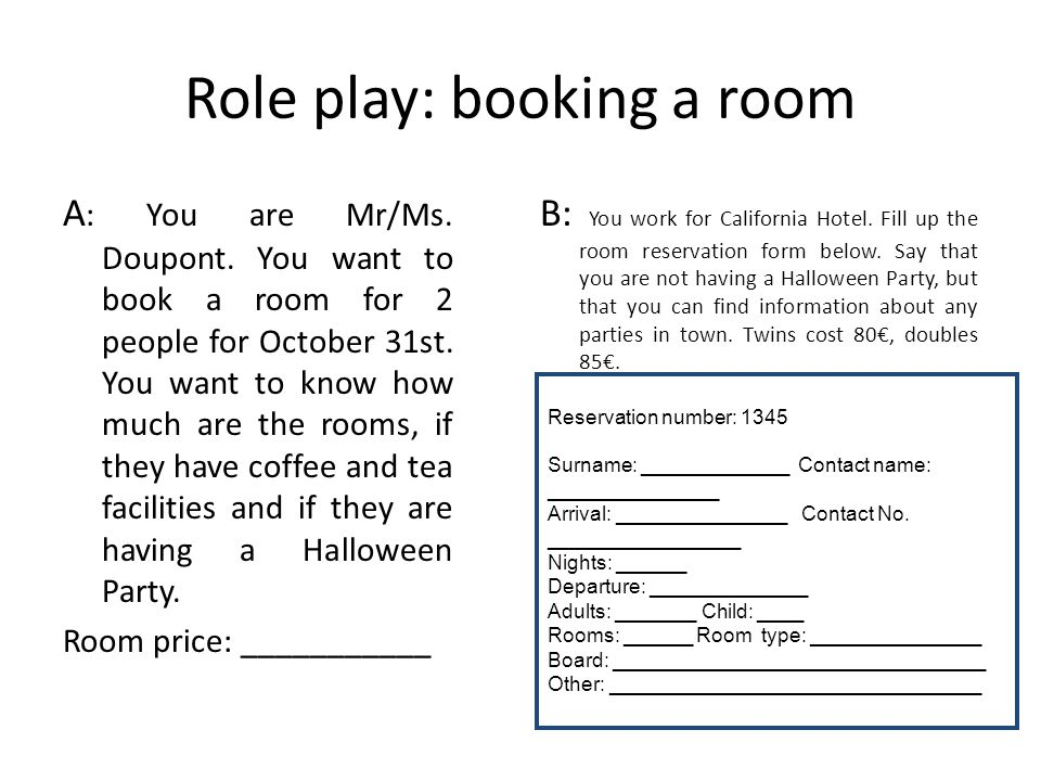 Role play: booking a room
