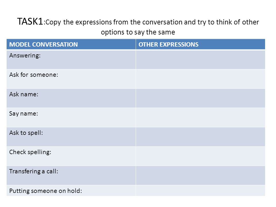 TASK1:Copy the expressions from the conversation and try to think of other options to say the same